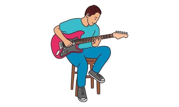 Joven, tocar la guitarra