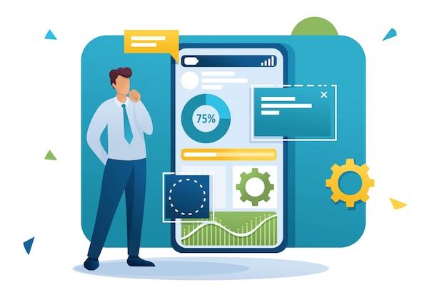 Joven trabaja en una aplicación móvil para la recolección y análisis de datos. personaje plano. concepto para diseño web