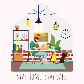 Joven trabajando desde casa. oficina en casa. mantener en casa la campaña de medios sociales y la prevención del coronavirus. auto cuarentena. evitar la propagación del virus corona. moda ilustración acogedora plana.
