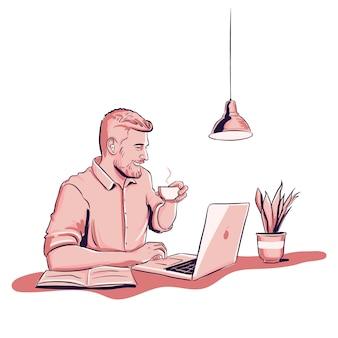 Joven trabajando en la computadora portátil y tomar café con planta