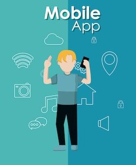 Joven usando aplicaciones móviles de teléfonos inteligentes
