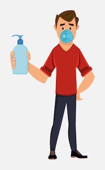 Joven use mascarilla y muestre la botella de desinfectante para manos