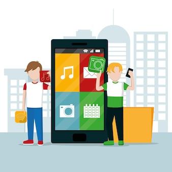 Joven utilizando aplicaciones de teléfonos inteligentes en la ciudad