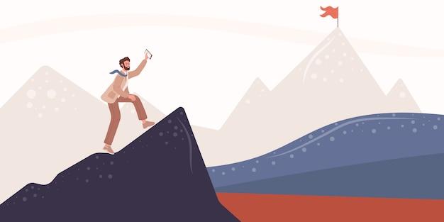 Joven viajero o explorador de pie, empresario en la cima de la montaña o acantilado y mirando el valle o meta, bandera
