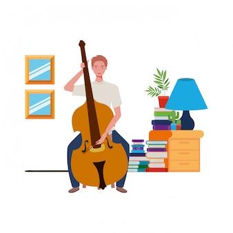 Joven con violín en sala de estar