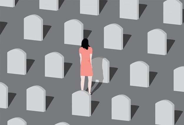 Joven visitando a un ser querido en el cementerio.
