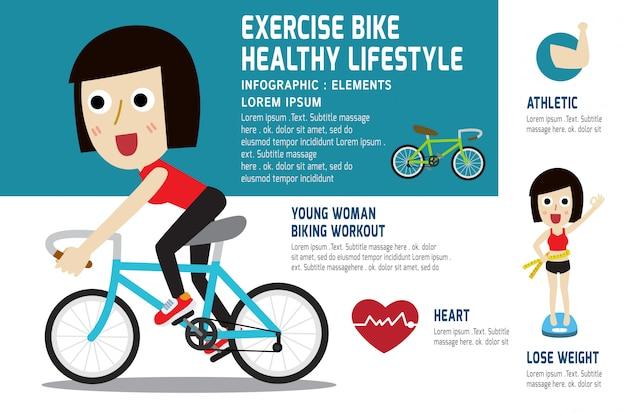 Una jovencita en bicicleta para hacer ejercicio.