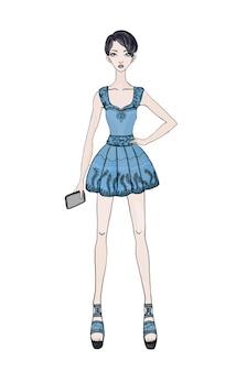 Jovencita de pelo corto con un vestido corto con un teléfono inteligente en la mano. ilustración de moda, sobre fondo blanco.