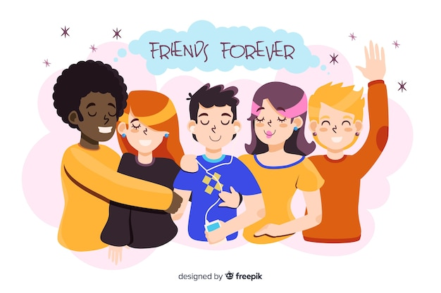 Jóvenes abrazándose juntos