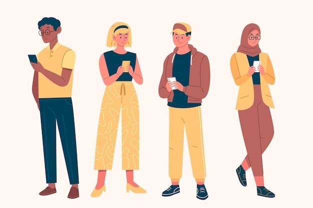 Jóvenes adictos que usan teléfonos inteligentes