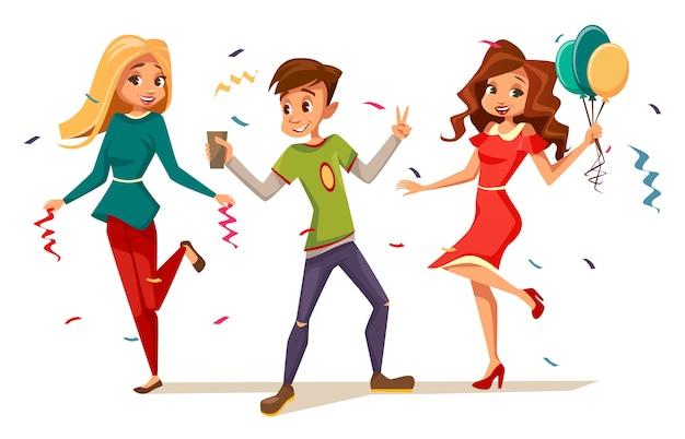 Jóvenes adolescentes bailando en la fiesta