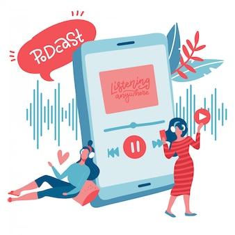 Jóvenes adolescentes escuchando música favorita a través de la aplicación móvil. personaje femenino plano. transmisión de radio en línea por internet, aplicaciones de música, concepto de podcast en línea de lista de reproducción. ilustración.