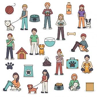 Jóvenes con adorables mascotas y accesorios.
