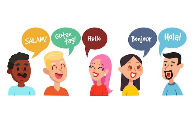 Jóvenes adultos hablando entre ellos en diferentes idiomas.