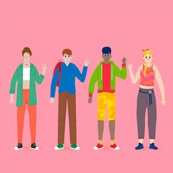 Jóvenes agitando colección de mano