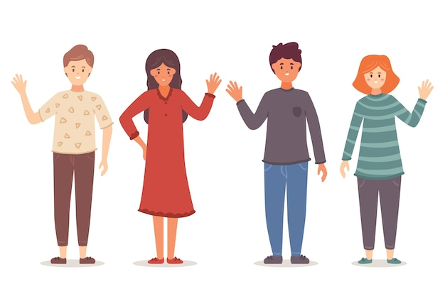 Jóvenes agitando la ilustración de la mano