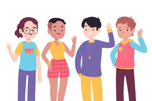 Jóvenes agitando la mano