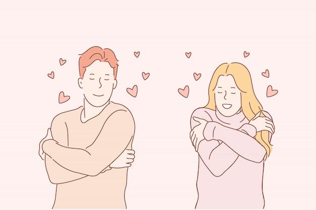 Jóvenes amorosos, concepto de emoción positiva