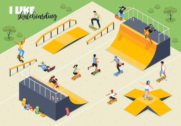Jóvenes atletas durante el andar en patineta en terreno deportivo con rampas isométrica ilustración vectorial horizontal