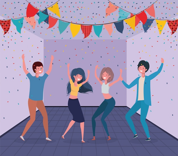 Jóvenes bailando en la habitación.