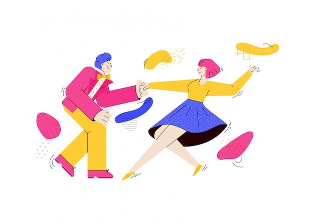 Jóvenes bailando rock-n-roll o swing ilustración de dibujos animados aislado.