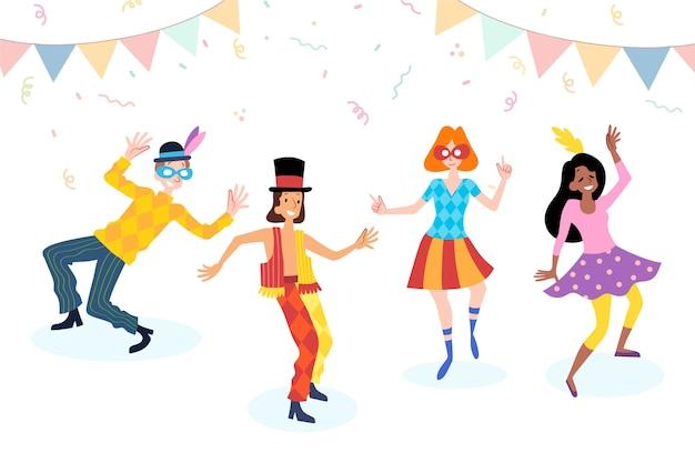 Jóvenes bailarines de carnaval con confeti y guirnaldas