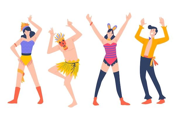 Jóvenes bailarines de carnaval con máscaras y disfraces