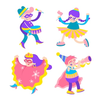 Jóvenes bailarines de carnaval con trajes coloridos