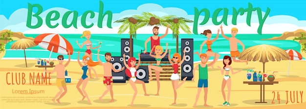 Jóvenes bailes y bebidas cócteles en la playa.