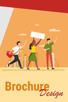 Jóvenes con banner en reunión social. opinión, multitud, ilustración de vector plano de paisaje urbano. concepto de política y democracia