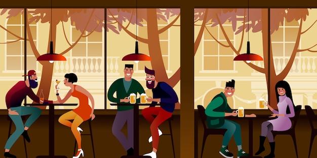 Los jóvenes beben cerveza en un café de la ciudad. ilustración plana