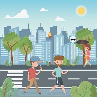 Jóvenes caminando por los personajes de la calle.