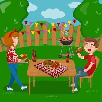 Jóvenes cocinando y comiendo barbacoa mientras están sentados en el jardín, fiesta de barbacoa en dibujos animados de vacaciones ilustraciones