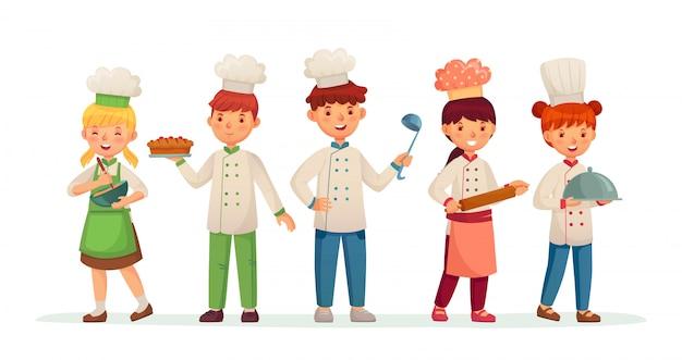Jóvenes cocineros. niños felices cocineros, niños cocinando y horneando en la ilustración de vector de dibujos animados de traje de chef