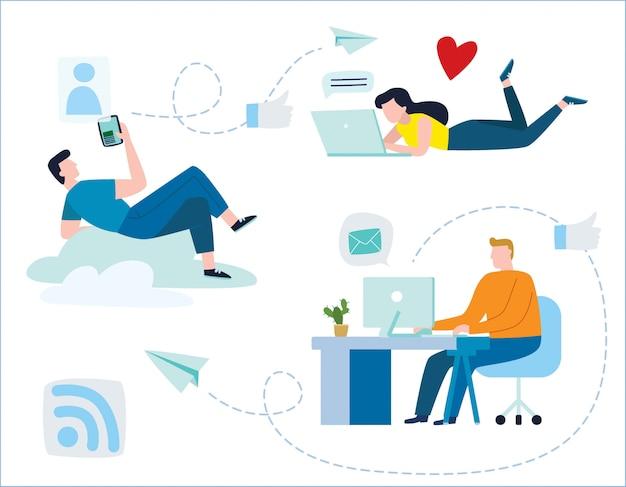 Los jóvenes se comunican a través de las redes sociales de internet.