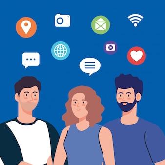 Los jóvenes y la comunidad de redes sociales, interactiva, comunicación y concepto global.