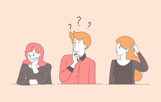 Jóvenes confundidos lineal ilustración plana. chico, chicas bastante inciertas resolviendo problemas, buscando respuestas con caracteres de contorno aislados. mujeres y hombres pensativos y perplejos con expresión pensativa