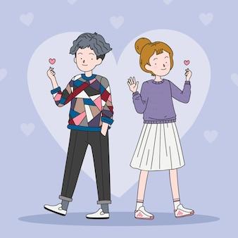 Jóvenes coreanos haciendo corazón de dedo