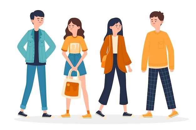 Jóvenes coreanos de moda ilustrados
