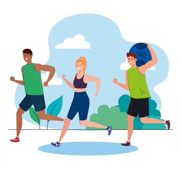 Jóvenes corriendo al aire libre, concepto de recreación deportiva