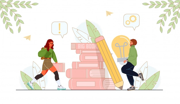 Jóvenes creativos con pila de libros y lápiz