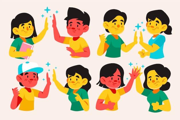 Jóvenes dando cinco alta ilustración conjunto