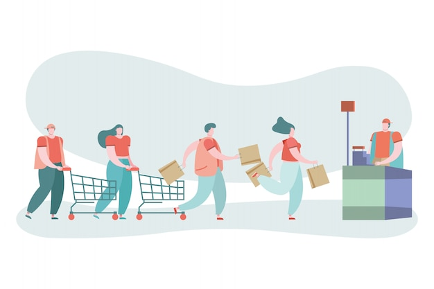 Jóvenes en día de compras y vendedor