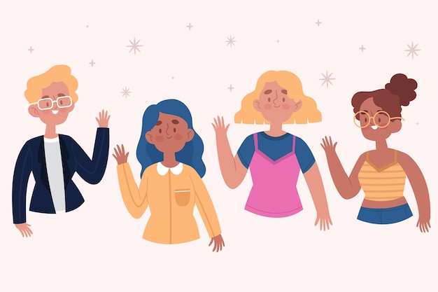 Jóvenes dibujados a mano agitando conjunto de mano