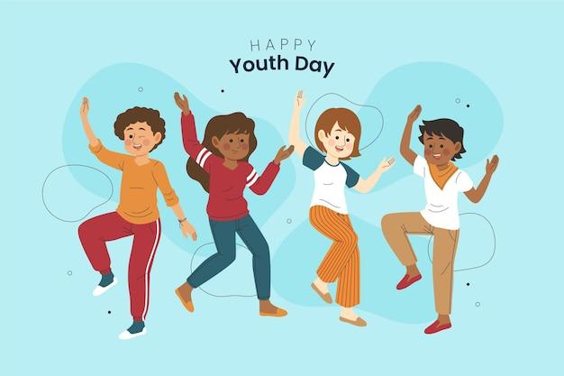 Jóvenes dibujados a mano celebrando el día de la juventud