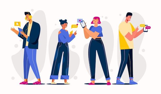 Jóvenes dibujados a mano plana con teléfonos inteligentes
