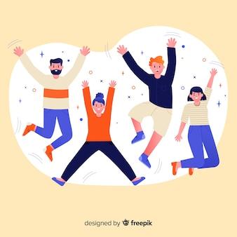 Jóvenes dibujados a mano saltando