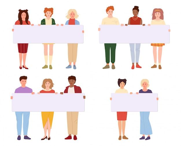 Jóvenes con dibujos animados de banner en blanco. grupo hombre, mujer estudiante participando en desfile