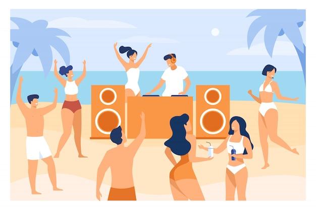 Jóvenes disfrutando de una fiesta tropical al atardecer