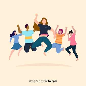 Jóvenes divertidos dibujos animados saltando